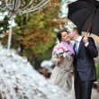 Young happy bride and groom kissing by the rain — Stock Photo
