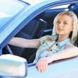 Tired girl sitting behind the wheel of her car — Stock Photo
