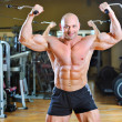 Bodybuilder posing at gym - strong man torso — Stock Photo