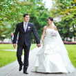 Stock Photo: Wedding couple walking in park together