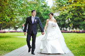 Wedding couple walking in a park together — Stock Photo