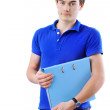Teenager with folder isolated on white background - Stock Photo