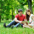 Cheerful couple using digital tablet — Foto Stock