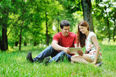 Cheerful couple using digital tablet — Stock Photo