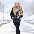 Snow winter woman portrait outdoors on snowy white winter day — Stock Photo #18621277