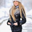 Portrait of winter woman with snow — Stock Photo #18621383