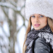 Stock Photo: Beautyful womin winter - closeup
