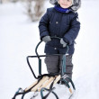 Little boy with sled in winter — Stock Photo