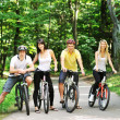 Group of four adults on bicycles in the countryside — Stock Photo