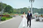 жених и невеста вместе ходьбе на открытом воздухе — Стоковое фото