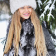 Beauty woman in the winter scenery — Stock Photo