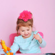 Sweet little girl drawing at home — Stock Photo
