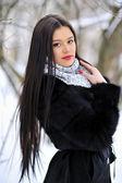 Beautiful lady - winter portrait closeup — Stock Photo
