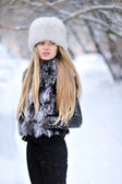 美丽的女人画像在冬季 — 图库照片