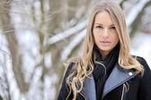 Closeup of a beautiful girl in winter — Stock Photo