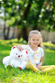 Portrait of sweet little girl outdoors — Foto Stock