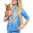 Beautiful smiling woman holding her little puppy isolated on whi - Foto Stock