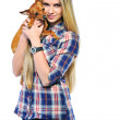 Happy woman and her beautiful puppy dog over white background — Stock Photo