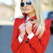 Stock Photo: Fashion town beautiful girl wearing sunglasses - portrait