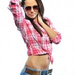 Fashion model posing isolated on white wearing sunglasses - port — Stock Photo