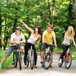 Group of on a bicycles in a countryside — Stock Photo
