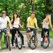 Stock Photo: Group of attractive happy on bicycles in countryside