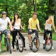 Group of attractive happy on bicycles in the countryside — Stock Photo