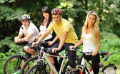 Group of on a bicycles in a countryside - portrait — Stock Photo