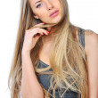 Portrait of a beautiful woman with long blond hair and perfect s - Stock fotografie