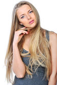 Portrait of a beautiful woman with long blond hair and perfect s — Stock Photo