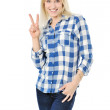 Stock Photo: Happy smiling beautiful young woman showing two fingers, isolate