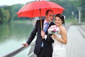 Happy wedding couple hiding from rain - portrait — Stock Photo