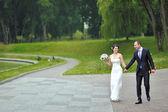 快乐婚礼夫妇行走和在一起在一个公园开心 — 图库照片