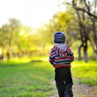 Little baby boy walking away - sunset colors — Stock Photo