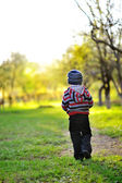 Little baby boy walking away - sunset colors — 图库照片