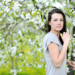 Outdoor portrait of a beautiful woman in blooming tree in spring — Stock Photo