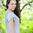 Closeup portrait of beautiful young woman - Outdoor - Stock Photo