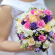 Bride holding wedding bouquet — Stock Photo #25852799