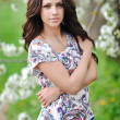 Young beautiful lady portrait on nature outdoors — Stock Photo