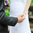 Bride and groom holding each other by the hand  — Stockfoto