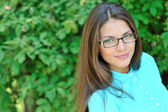 Beautiful woman face wearing glasses - closeup — Stock Photo