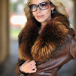 Fashion beautiful woman portrait with long hair wearing sunglass — ストック写真
