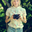 Young woman photographer portrait — Foto de Stock