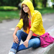 Fashion stylish teenage girl in colorful clothes — Stock Photo