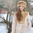 Winter portrait of young beautiful lady  — Stock Photo