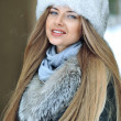 Closeup portrait of pretty young girl in winter  — Stock Photo