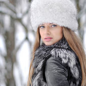 Beautiful young woman portrait in winter — Stock Photo