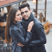 Fashion portrait of young sensual and handsome couple - outdoors — Stock Photo