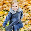 Cute little girl playing in autumn park — Stock Photo