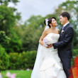 Wedding. Happy young bride and groom portrait — Photo